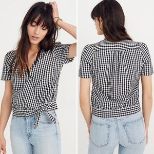 Madewell Short Sleeve Wrap Top Gingham Check